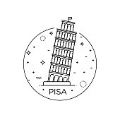 Vector Icon of the Tower of Pisa in flat design