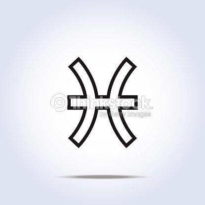 Pisces Zodiac Sign Gray Color Vector Art