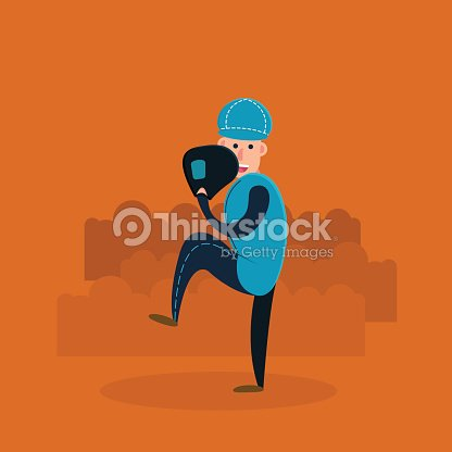 Pitcher - baseball player with glove and ball. Flat vector illustration in cartoon style