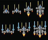 Pixel art arcade video game spaceship graphic set with ship being upgraded or powered up