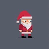 Pixel art cute santa claus. Vector illustration.