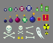Pixel art danger icons set for game design. Bombs and skulls of different sizes and other.