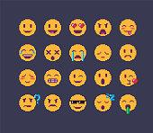 Pixel art emoji icon set. Funny flat style emoticon.