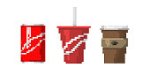 Pixel art fast drink cups vector illustration. Morning mug cappuccino symbol design. Graphic menu retro shop sign caffeine espresso. Takeaway beverage.