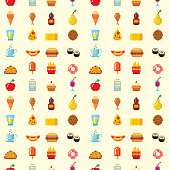 Pixel food icons fruit sweet seamless pattern background vector illustration restaurant pixelated element. Fast food computer design symbol retro game web graphic.