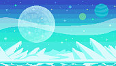 Pixel art game location. Cosmic area, someone frozen planet surface. Seamless vector background