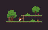 Pixel art game scene with character, trees, ladder, chest, heart and grass platforms