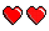 8-Bit Pixel Art Heart Shape on the White Background