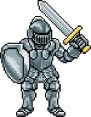 Knight cartoon character in pixel art style in his suit of armour holding a sword and shield