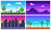 Pixel art landscape. Summer ocean beach, 8 bit city park, pixel cityscape and highlands landscapes arcade game. Pixelated scene, pixelation gaming playing level vector background set