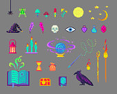Pixel art magic set. Mystical book, mushrooms, skull, staff, crows and much more for design.