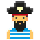 pixel art pirates art cartoon retro game style
