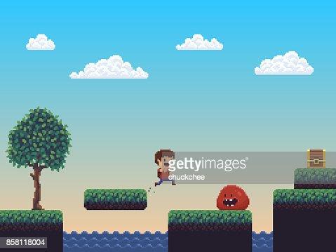Pixel Art Scene : stock vector