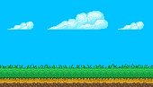 Pixel art seamless background. Location with sky, clouds, ground and grass. Landscape for game or application.