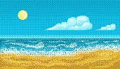 Pixel art seascape with the shore of the ocean.