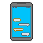 Pixel art smartphone and messengers for banners and prints