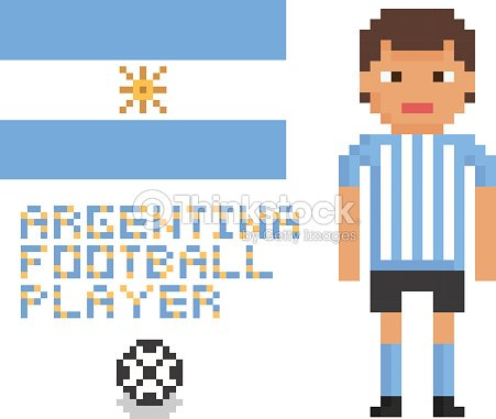 Pixel Art Soccer Or Football Argentina Player Flag And Ball