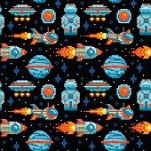 Pixel art. Space seamless pattern. Planet, spaceship, rocket, astronaut, UFO. Space background.