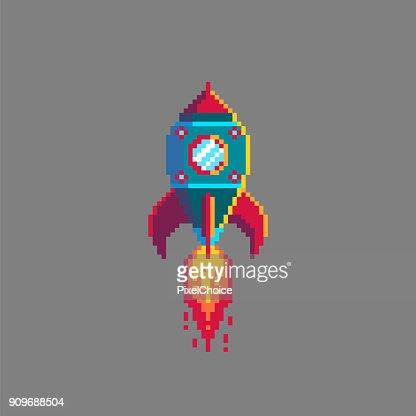 Pixel art spaceship rocket launch. : stock vector