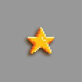 Pixel art star icon. Sticker with shadow.