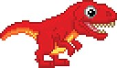 Pixel art 8 bit cartoon T Rex Tyrannosaurus dinosaur character