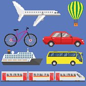 Pixel art transport set: plane, aerostat, bicycle, car, ship, bus, train. Vector illustration