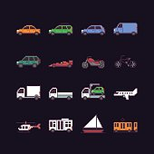 Set of 16 pixel art icons with different cars, public transport, air vehicles