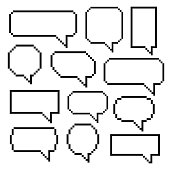 Pixel bubble speech. Set of speech balloons, graphic element for comic books for saying and phrase. Vector flat style cartoon illustration isolated on white background