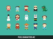 Set of different pixel characters. Medic, police man, astronaut, bodyguard, mexican guy, yeti, dinosaur monster and other