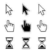 Pixel cursor pointer, hand, arrow, hourglass, click, press vector icons. Cursor symbol, hand arrow cursor icon of set illustration