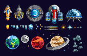Colorful pixel design of game spacecraft with planets and moving elements on blue background