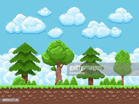 Pixel-Spiel Vektor-Landschaft mit Bäumen, Himmel und Wolken für 8-Bit-Vintage Arcade-Spiel : Vektorgrafik
