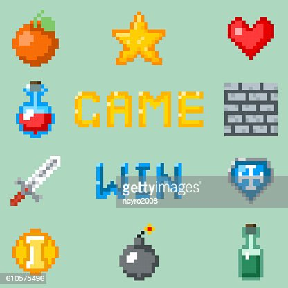Pixel games icons for web, app or video game interface : stock vector
