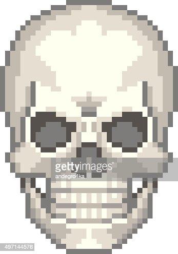Crâne Humain Isolé Vecteur Pixel Clipart vectoriel