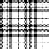 Pixel plaid pattern in black & white. Seamless tartan check plaid for coat, scarf, poncho, shirt, or other textile design.