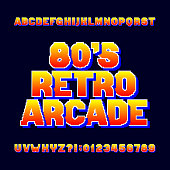 Pixel retro alphabet font. Video computer game letters and numbers. 80's arcade game typeface.