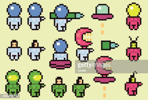 pixel space characters astronaut and aliens vector art