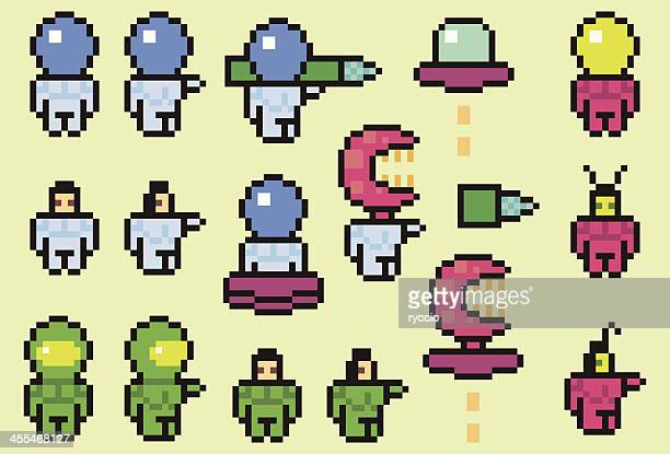 Pixel space characters, astronaut and aliens