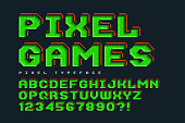 Pixel vector font design, stylized like in 8-bit games. High contrast, retro-futuristic, game over sign. Easy swatch color control.