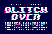 Pixel vector font design with glitch effect. 2 in 1. Retro-futuristic. Swatch color control.