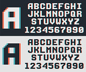 pixel game retro font, 8-bit vector alphabet