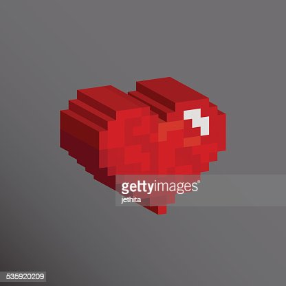 Pixels art 3D heart shape designs love concept : Vector Art