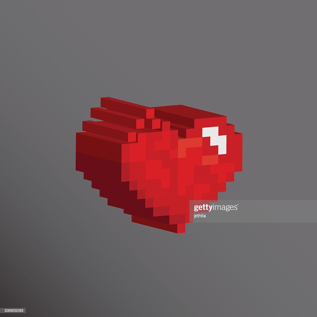 Pixels art heart broken design love concept : Vector Art
