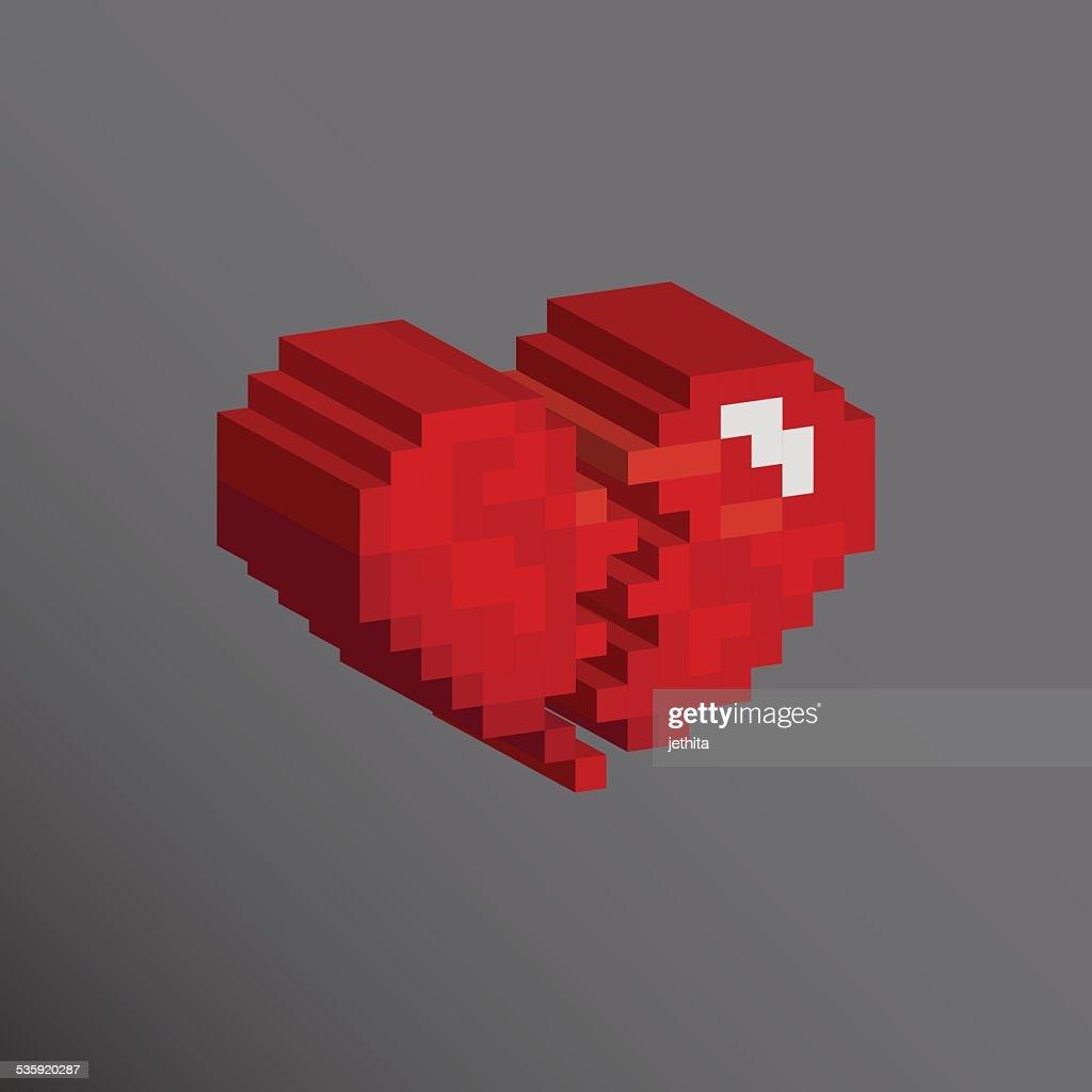 Pixels art heart broken designs love concept : Vector Art