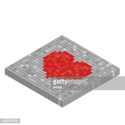 Pixels art tile heart 3D designs love concept : Vector Art