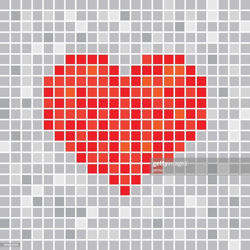 Pixels art tile heart designs love concept : Vector Art