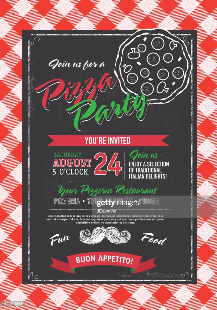 Pizza And Birthday Party Invitation Design Template Black White – Black and White Party Invites