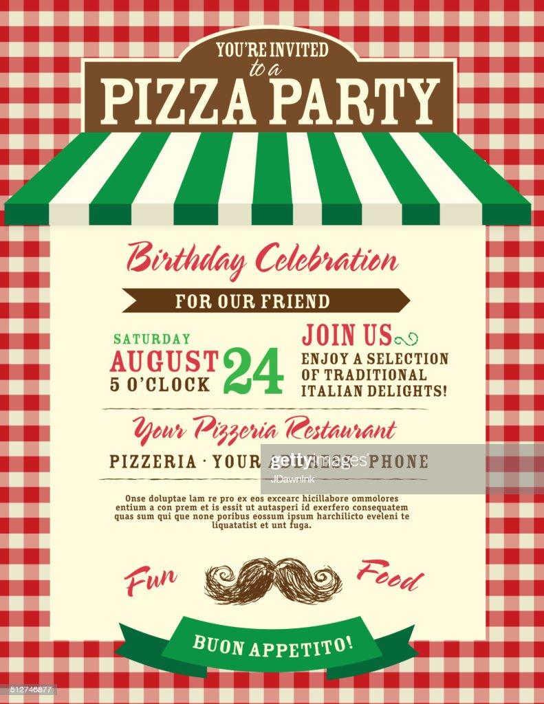Pizza And Birthday Party Invitation Design Template Small Red ...