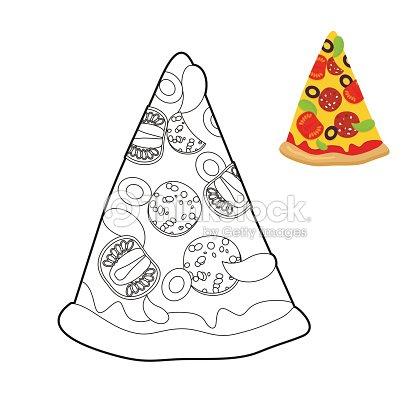 pizza livro de colorir delicioso fatia de pizza estilo linear arte