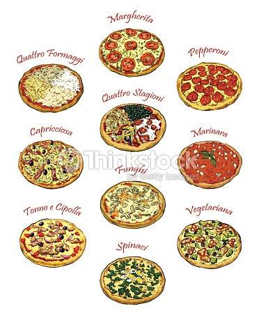 Pizza Illustrazione Set Di Dieci Vettoriale Disegni A Mano Libera